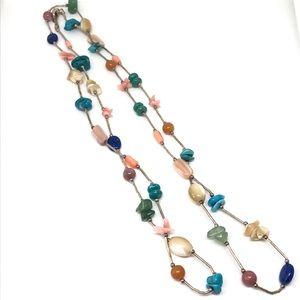 Fabulous 925 Liquid Silver Multi Gemstone Necklace